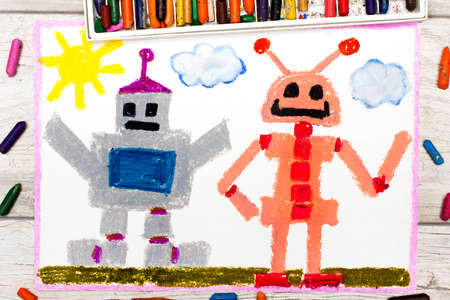 Photo of a colorfful drawing: Two different robots