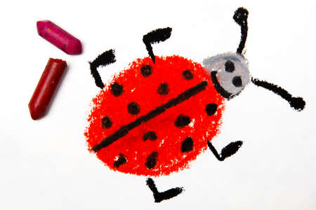 ladybird: Photo of colorful drawing: Smiling ladybug on white paper background, with crayons.