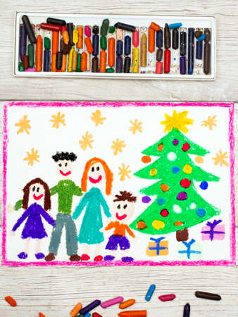 happy family: Photo of colorful drawing: Happy family and Christmas tree Stock Photo
