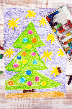 children painting: colorful drawing: Christmas tree