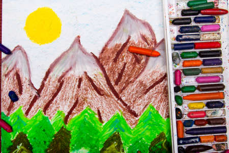 children painting: Colorful drawing: high mountain landscape Stock Photo