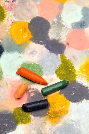 children painting: Photo of colorful oil pastels drawing texture for background. Selective focus.  Stock Photo