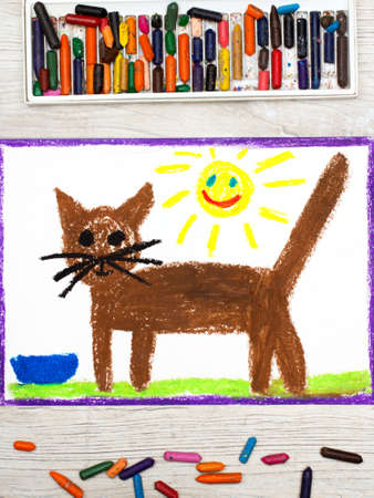 children painting: Photo of colorful drawing: brown cat