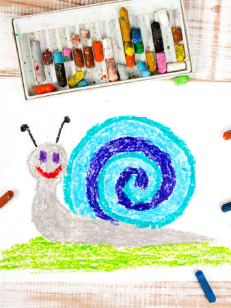 children painting: colorful drawing: snail with a shell Stock Photo
