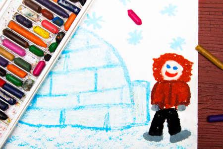 Colorful drawing: Eskimo with his igloo
