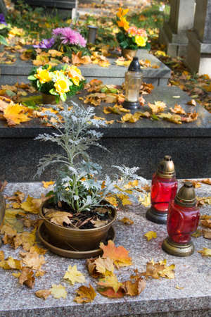 Graves decorations: flowers and votive candles. All Saints Day celebration in Poland