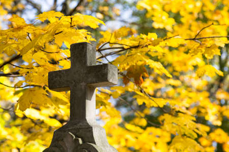Old stone memorial cross at cemetery. Religious Christian symbol on autumn trees background Stock Photo - 88217716