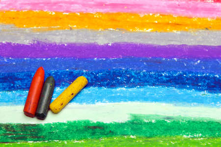 Photo of colorful oil pastels drawing texture for background. Selective focus. Stock Photo