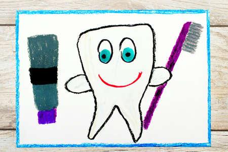 Photo de dessin coloré: souriant une dent saine tenant un dentifrice et une brosse à dents Banque d'images - 88840005