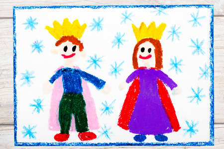 Photo of colorful drawing: smiling king and queen with their crowns