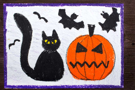 Halloween drawing: Black cat, bad pumpkin and flying bats