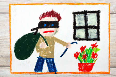 Photo of colorful drawing: Thief with mask and big bag, standing next to window. Home robbery.