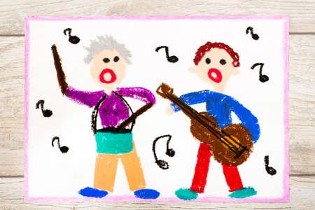 Foto van kleurrijke tekening: mensen zingen en instrumenten bespelen