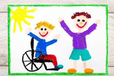 カラフルな絵の写真: 彼の車椅子に座っている笑顔の少年。友人との障害者の少年