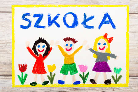 Photo of  colorful drawing: Polish word SCHOOL, school building and happy children. First day at school.  Stock Photo