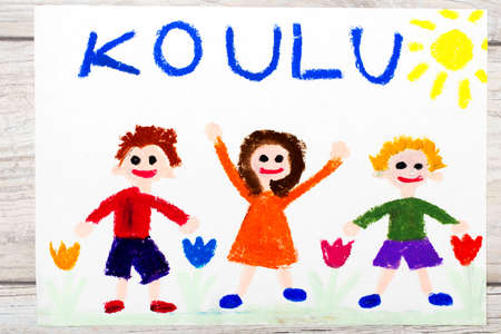 first house: Photo of  colorful drawing: Finnish word SCHOOL and happy children. First day at school.