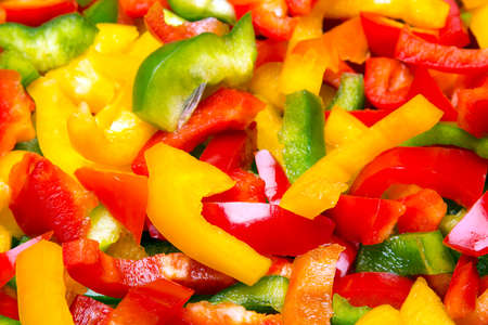Fresh colorful  cut bell peppers texture for background. Shallow depth of field Stock Photo