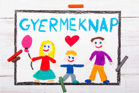 Colorful drawing. Childrens day card with Hungarian words: Childrens Day