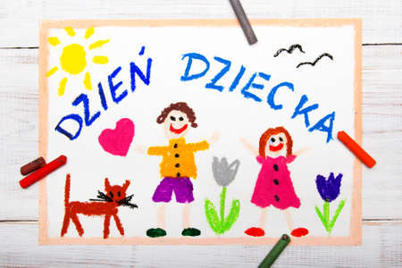 Colorful drawing: Childrens day card with Polish words Childrens day