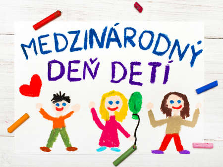 Colorful drawing. Childrens day card with  Slovak words Childrens day. Stock Photo