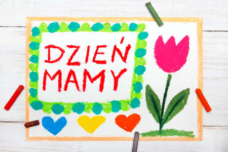Colorful drawing happy mothers day card with polish words stock colorful drawing happy mothers day card with polish words mothers day stock photo m4hsunfo