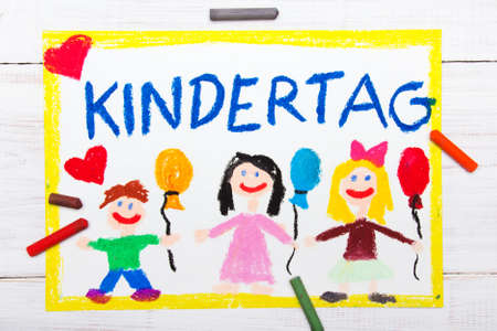 Colorful drawing: Childrens day card with German words Childrens day