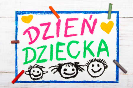 Colorful drawing: Children's day card with Polish words Children's day Standard-Bild - 91139281