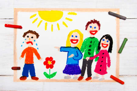 Colorful drawing: Group of children laughing at a crying boy. School violence