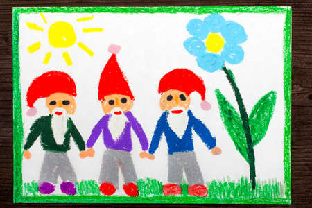 Colorful drawing: three smiling dwarfs in red hats