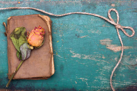 Dried orange roses and old book on wooden background Foto de archivo