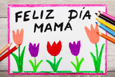 Colorful drawing - Spanish  Mother's Day card with words: Happy Mother's Day Stock Photo