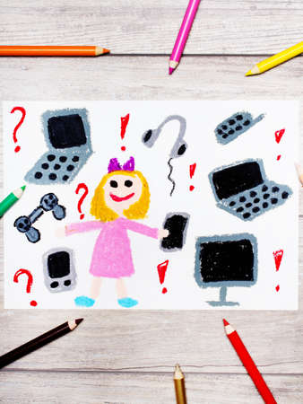Photo of colorful drawing: smiling little girl surrounded by electronic devices, phones, computers and tablets Stock Photo