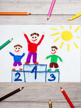 Photo of colorful drawing: winners on the podium.