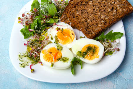 Healthy breakfast: Hard boiled eggs, fresh radish sprouts, arugula and dark whole wheat  bread with herb sauce, on blue background Standard-Bild