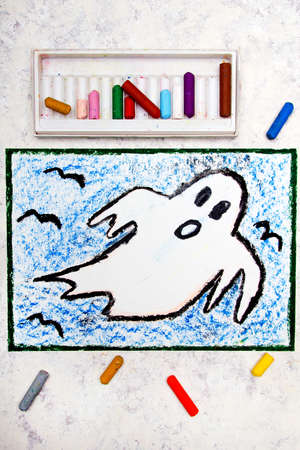 Colorful Hand Drawing: Scary White Ghost. Halloween Drawing On White ...
