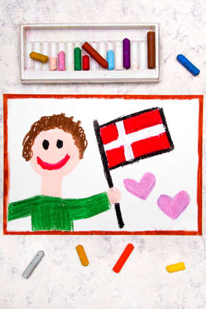 Colorful drawing: Happy man holding flag Danish flag. Flag of Denmark and smiling boy Stock Photo