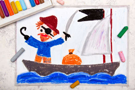 Colorful drawing: Old Pirate with a patch over his eye, hook and cap stands on the pirate ship