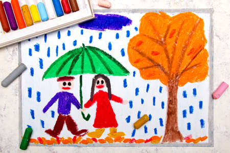 Colorful drawing: A smiling couple is walking under the umbrella. Rainy autumn weather