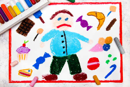 Colorful drawing: Fat boy and  and sweets around him. The problem of childhood obesity
