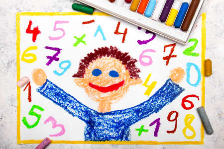 Colorful drawing: Smiling boy and colorful numbers next to him
