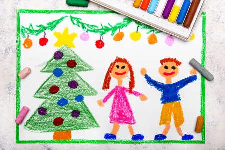 Bunte Zeichnung: Eine Weihnachtszeit, ein lächelndes Paar und ein schöner Weihnachtsbaum