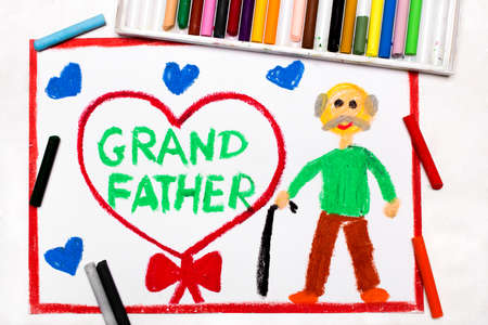 Colorful drawinsg: Grandparents Day card with happy grandfather