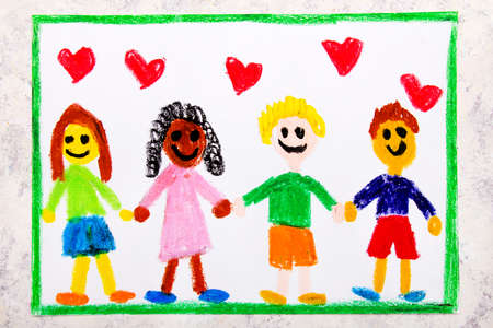 Colorful drawing: A group of happy international friends holds hands
