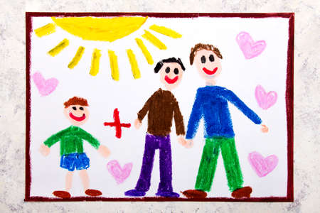Colorful drawing: Happy gay parents and his adopted son. Two fathers and a child Фото со стока