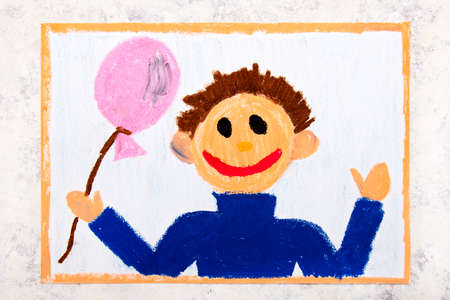 Colorful drawing: Smiling boy with pink balloon in his hand