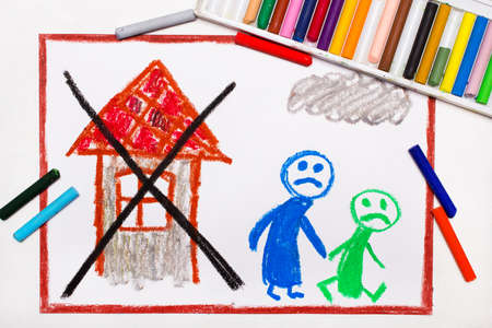 Colorful drawing: Two sad people leave their home. The problem of homelessness, eviction or moving out Standard-Bild - 116876289