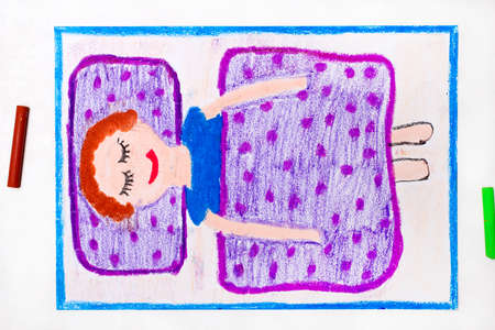 Colorful drawing: Time to sleep. A smiling boy is sleeping in a bed