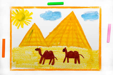 Colorful drawing: Pyramids and camels in the desert