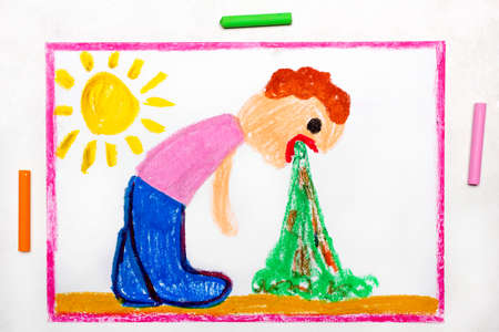 Colorful drawing: Vomiting man. A sign of food poisoning or the effect of drinking alcohol Standard-Bild - 118914515