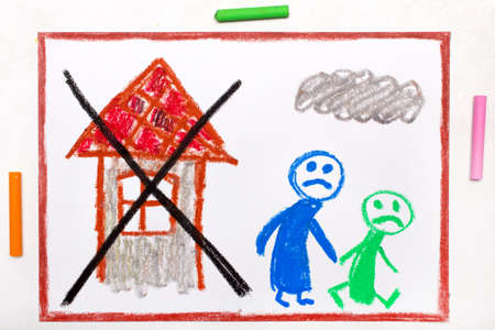 Colorful drawing: Two sad people leave their home. The problem of homelessness, eviction or moving out Standard-Bild - 118914517